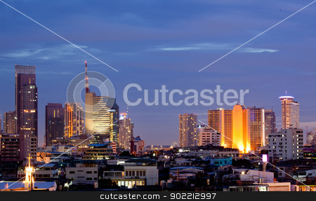 Bangkok Downtown at dusk stock photo, Aerial view of Bangkok skylines building at downtown area at dusk by Vichaya Kiatying-Angsulee