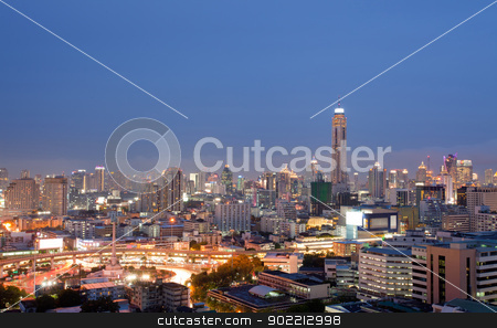 Bangkok skylines building stock photo, Aerial view of Bangkok skylines building at downtown area at dusk by Vichaya Kiatying-Angsulee
