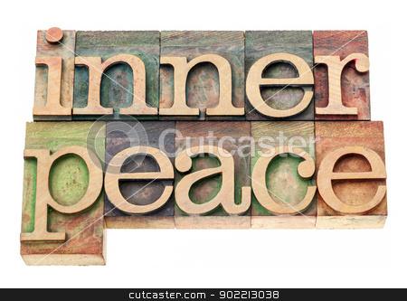 inner peace in wood type stock photo, inner peace  - isolated text in vintage letterpress wood type printing blocks by Marek Uliasz