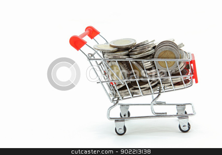 isolated shopping cart with full wealth coins inside on white ba stock photo, isolated shopping cart with full wealth coins inside on white background by Vichaya Kiatying-Angsulee