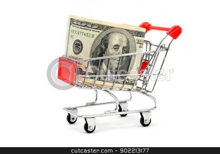 Money Shopping stock photo, Money Dollar Cash Banknote in Trolley Shopping Cart on White Background by Vichaya Kiatying-Angsulee