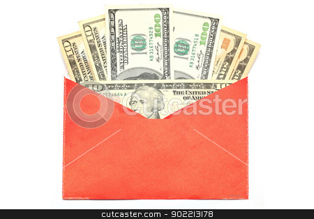Money Chinese Envelope stock photo, Money Dollar Cash Banknote in Red Envelope on White Background using for Chinese New Year Celebration Concept by Vichaya Kiatying-Angsulee