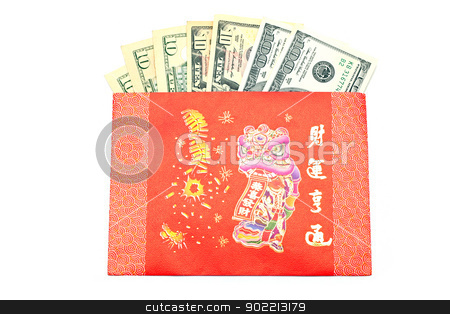 Money Gift stock photo, Money Dollar Cash Banknote in Red Envelope on White Background using for Chinese New Year Celebration Concept by Vichaya Kiatying-Angsulee