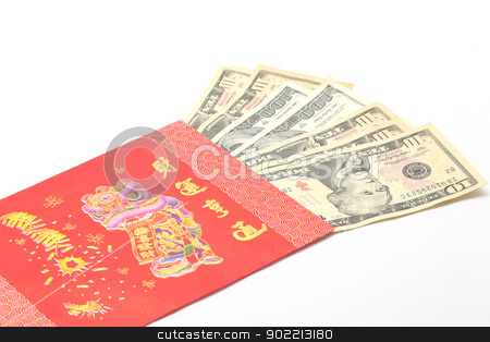Money Gift stock photo, Perspective of Money Dollar Cash Banknote in Red Envelope on White Background using for Chinese New Year Celebration Concept by Vichaya Kiatying-Angsulee