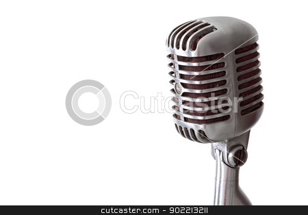 vintage microphone stock photo, vintage microphone isolated on white with copy space for your design by Vichaya Kiatying-Angsulee