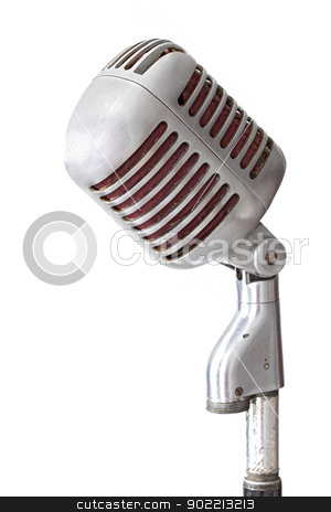 vintage microphone stock photo, vintage microphone isolated on white by Vichaya Kiatying-Angsulee