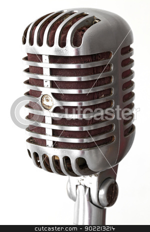 vintage microphone stock photo, extreme closeup of vintage microphone isolated on white by Vichaya Kiatying-Angsulee