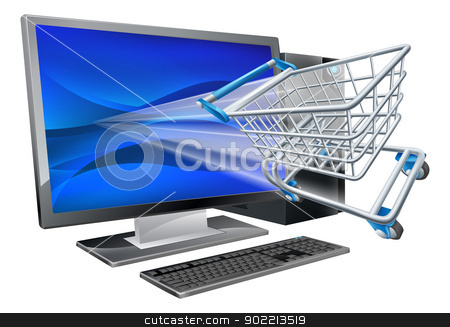 Computer shopping concept stock vector clipart, Desktop computer with super market shopping cart trolley flying out of screen, online shopping concept by Christos Georghiou