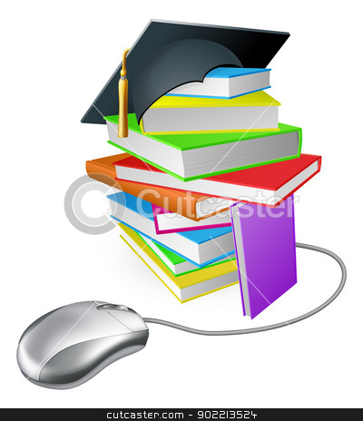 Internet learning concept stock vector clipart, Online education, training or learning concept, a computer mouse connected to a stack of books with graduation cap on it.   by Christos Georghiou