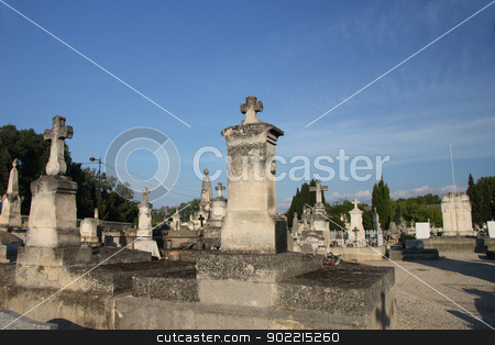 Cemetary in France stock photo, Old cemetary in the Provence, Southern France by Porto Sabbia