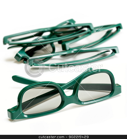 Pair of 3-d glasses for movies cinema stock photo, Pair of green 3d polarized glasses for watching 3-d movies in cinema isolated against white with stack of used specs in background by Steven Heap