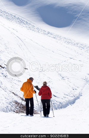 skier at Matterhorn stock photo, Skier in high mountains range, Matterhorn alps Switzerland by Vichaya Kiatying-Angsulee