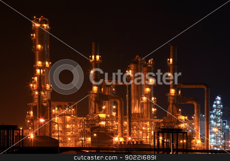 petrochemical oil refinery plant stock photo, closeup of petrochemical oil refinery factory at night by Vichaya Kiatying-Angsulee