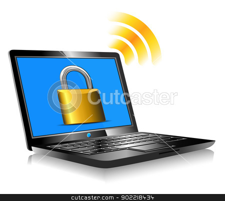 Padlock on laptop screen Laptop internet surfing protection stock vector clipart, Laptop protection - internet connection with global world by Fenton