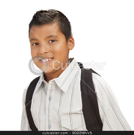 Happy Young Hispanic Boy Ready for School on White stock photo, Happy Young Hispanic Boy with Backpack Ready for School Isolated on a White Background. by Andy Dean