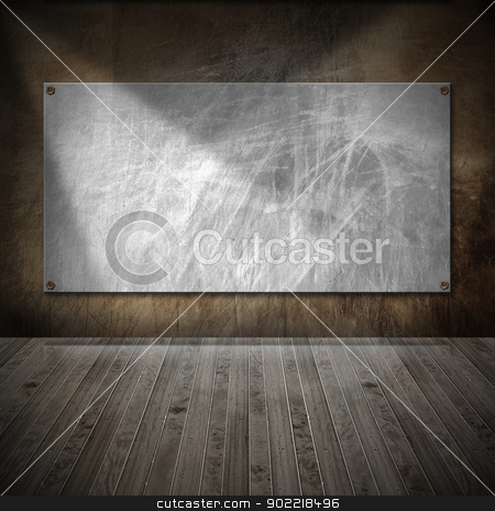Interior Grunge Room stock photo, Brown metallic and wooden grunge interior with empty frame by catalby