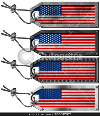 USA Flags Set of Grunge Metal Tags stock photo, Four grunge metallic tags with USA flags, steel cable and metal rivets  by catalby