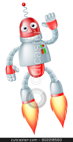 Cute flying robot man stock vector clipart, A happy cute flying red and silver robot man with boosters on his feet taking off and waving by Christos Georghiou