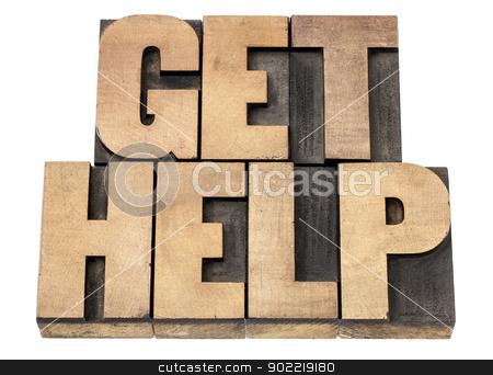 get help in wood type stock photo, get help - isolated text in vintage letterpress wood type printing blocks by Marek Uliasz