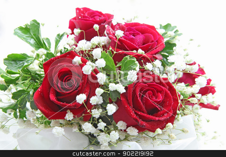 rose bouquet stock photo, rose bouquet isolated on white using in wedding or any greeting ceremony by Vichaya Kiatying-Angsulee