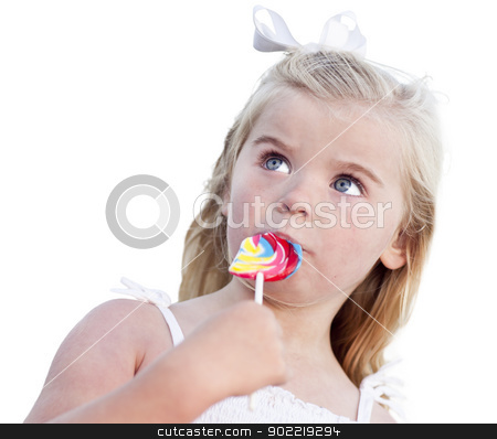 Adorable Little Girl Enjoying Her Lollipop on White stock photo, Adorable Little Girl Enjoying Her Lollipop Isolated on a White Background. by Andy Dean