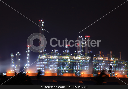 petrochemical oil refinery plant stock photo, closeup of petrochemical oil refinery plant at night by Vichaya Kiatying-Angsulee