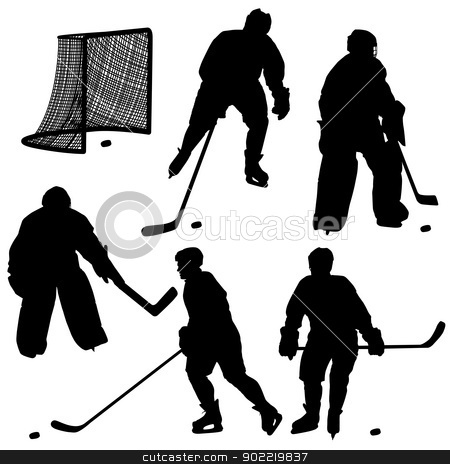 Set of silhouettes of hockey player.  stock photo, Set of silhouettes of hockey player. Isolated on white. Vector  illustrations. by aarrows