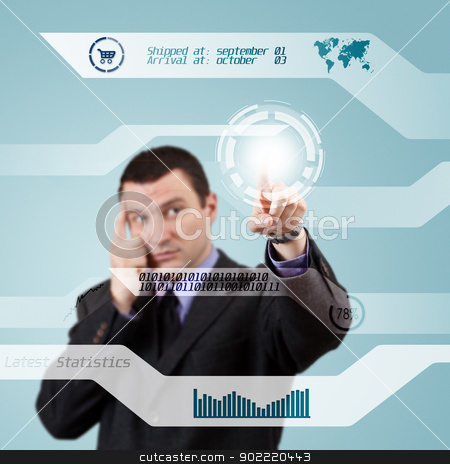 Digital concept stock photo, Businessman pressing modern buttons on a virtual background  by Grafvision