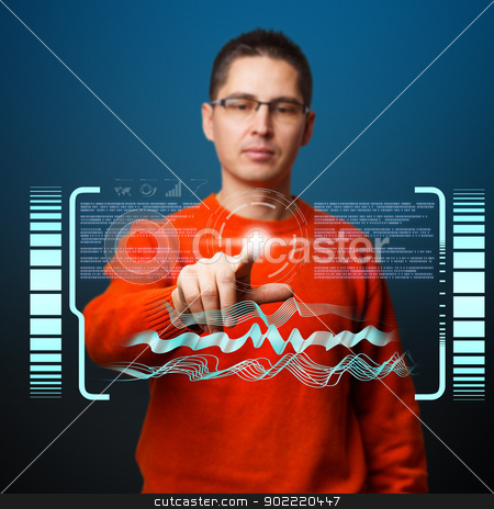 Digital concept stock photo, Modern digital buttons on a virtual interface by Grafvision