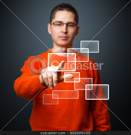 Digital concept stock photo, Young man pushing modern buttons on a virtual interface by Grafvision