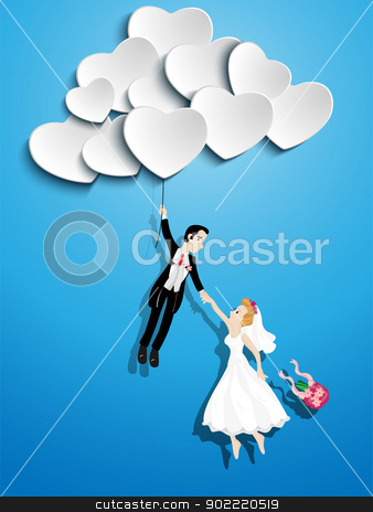 Just married couple flying with a heart shaped balloon stock vector clipart, Vector - Just married couple flying with a heart shaped balloon by Augusto Cabral Graphiste Rennes