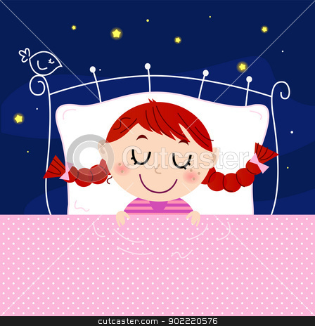 Cute little dreaming girl in bed with sky in the background stock vector clipart, Sleeping sweet girl. Vector cartoon Illustration by BEEANDGLOW