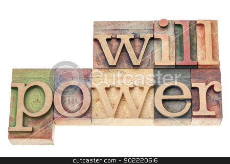 willpower in wood type stock photo, willpower word - isolated text in vintage letterpress wood type printing blocks by Marek Uliasz