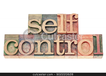 self control in wood type stock photo, selfcontrol word - isolated text in vintage letterpress wood type printing blocks by Marek Uliasz