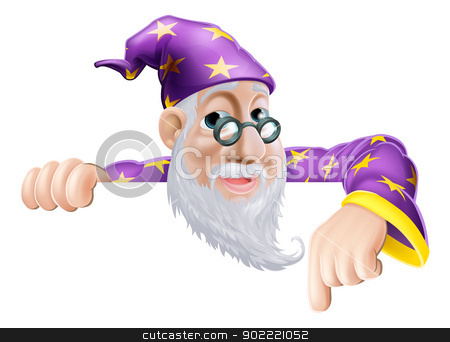 Fun Wizard Pointing Down stock vector clipart, An illustration of a cute friendly old wizard character above a sign or banner pointing down at it by Christos Georghiou