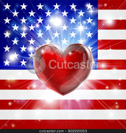 Love America flag heart background stock vector clipart, Flag of America patriotic background with pyrotechnic or light burst and love heart in the centre by Christos Georghiou