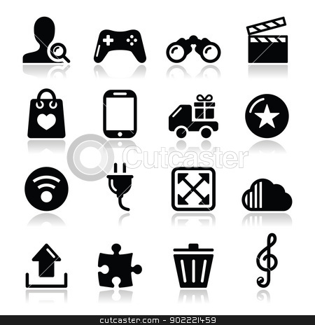 Web internet icons set - vector stock vector clipart, Modern application website black icons with shadows  by Agnieszka Murphy