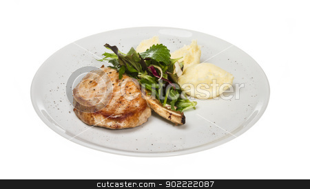 Grilled pork with salad and potato stock photo, Grilled pork with salad and potato by Andrey Starostin