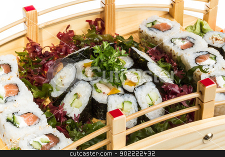 Set of sushi and rolls stock photo, Set of sushi and rolls by Andrey Starostin