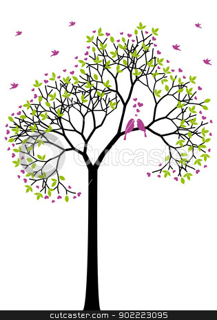 spring tree with love birds, vector stock vector clipart, spring tree with love birds, green leaves and heart flowers, vector by Beata Kraus