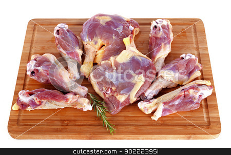 duck meat stock photo, duck meat on a cutting board in front of white background by Bonzami Emmanuelle