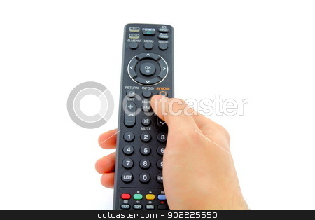 Remote control stock photo, Close up of a hand holding a remote control on white background. by MarcinSl1987