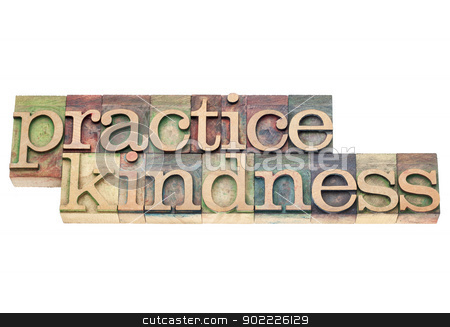 practice kindness in wood type stock photo, practice kindness - isolated text in vintage letterpress wood type printing blocks by Marek Uliasz
