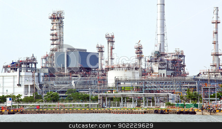 Panorama of Oil refinery plant stock photo, landscape of Oil refinery plant along river Panorama by Vichaya Kiatying-Angsulee