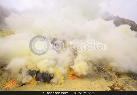 Sulfur mining plant stock photo, Landscape of Sulfur Mine at Khawa Ijen Volcano Crater Java Island Indonesia by Vichaya Kiatying-Angsulee