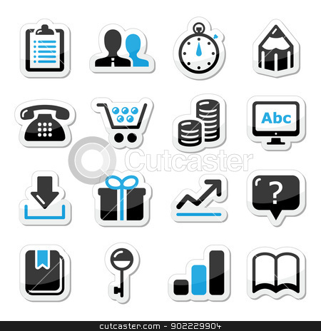 Web internet icons set - vector stock vector clipart, Modern application website black and blue labels by Agnieszka Bernacka