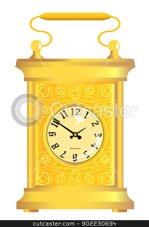 Carriage Clock stock vector clipart, A gold traditional carriage clock isolated on white by Kotto