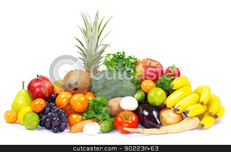 vegetables and fruits  stock photo, Fresh vegetables and fruits on white by Vitaliy Pakhnyushchyy
