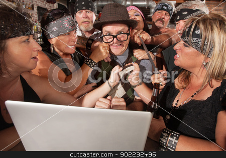 Gang Holds Up Nerd on Computer stock photo, Annoyed motorcycle gang sticks up nerd using laptop by Scott Griessel