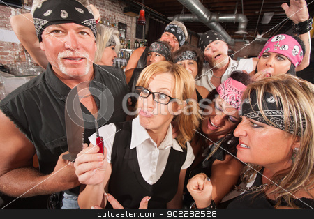 Geek and Tough Guy Compare Weapons stock photo, Geek with pocket knife and man with large dagger by Scott Griessel